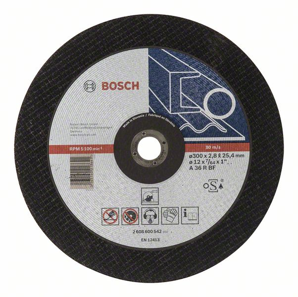 Отрезной круг, прямой, Expert for Metal Bosch A 36 R BF, 300 mm, 25,40 mm, 2,8 mm (2608600542)