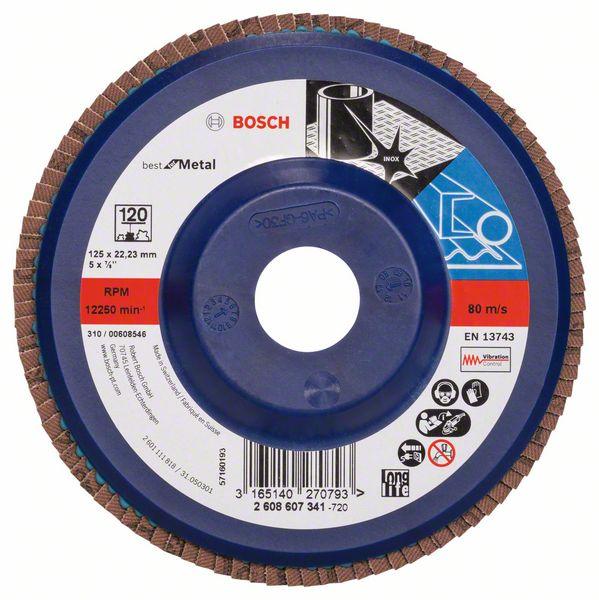 Лепестковый шлифкруг X571, Best for Metal Bosch 125 мм, 22,23 мм, 120 (2608607341)