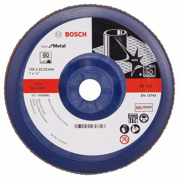 Лепестковый шлифкруг X571, Best for Metal Bosch 180 мм, 22,23 мм, 60 (2608607343)