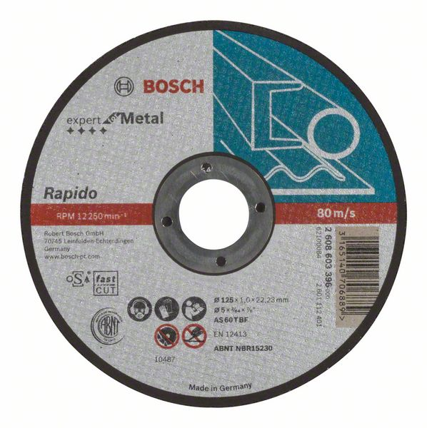 Отрезной круг, прямой, Expert for Metal, Rapido Bosch AS 60 T BF, 125 mm, 1,0 mm (2608603396)