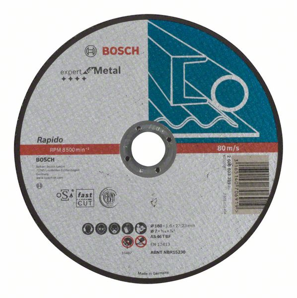 Отрезной круг, прямой, Expert for Metal, Rapido Bosch AS 46 T BF, 180 mm, 1,6 mm (2608603399)