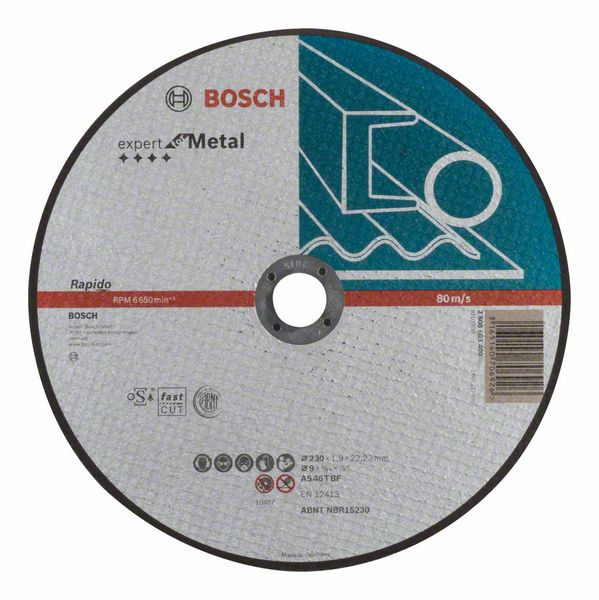 Отрезной круг, прямой, Expert for Metal, Rapido Bosch AS 46 T BF, 230 mm, 1,9 mm (2608603400)
