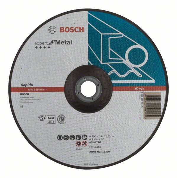 Отрезной круг, выпуклый, Expert for Metal, Rapido Bosch AS 46 T BF, 230 mm, 1,9 mm (2608603404)