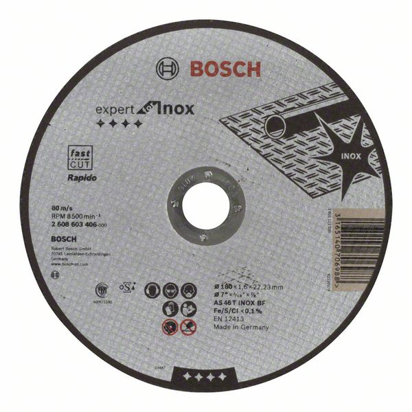 Отрезной круг, прямой, Expert for Inox - Rapido Bosch AS 46 T INOX BF, 180 mm, 1,6 mm (2608603406)