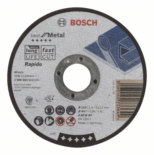 Отрезной круг, прямой, Best for Metal, Rapido Bosch A 60 W BF, 115 mm, 1,0 mm (2608603512)