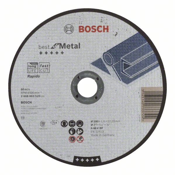 Отрезной круг, прямой, Best for Metal, Rapido Bosch A 46 V BF, 180 mm, 1,6 mm (2608603520)