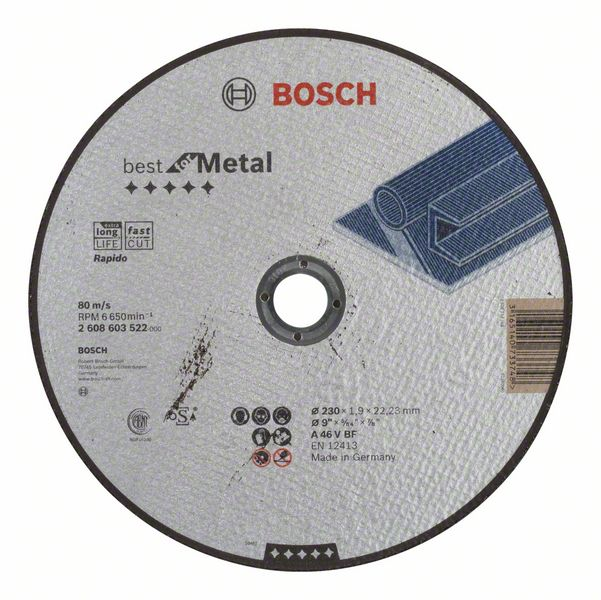 Отрезной круг, прямой, Best for Metal, Rapido Bosch A 46 V BF, 230 mm, 1,9 mm (2608603522)